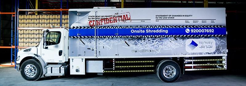 Tejoury Offsite Shredding Truck serving Kingdom